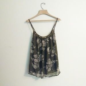 Ana A New Apprach | Olive Floral Sheer Tank